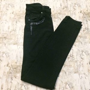 PAIGE High Rise Black Embroidered Skinny Jeans 27